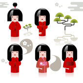 Set of Japanese girls — Stock Vector