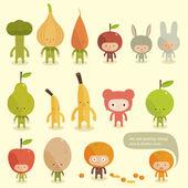 Friendly vegetables — Stock Vector