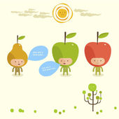 Friendly fruits — Stock Vector