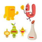 Set of food characters — Vector de stock