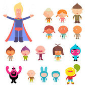 Girls and boys in costumes — Stockvector