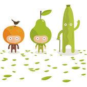 Дружественные фрукты — Cтоковый вектор