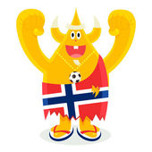 Norway football fan — Stock Vector
