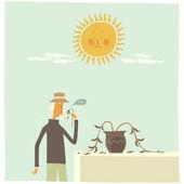 Gardener  holding fading plant — Stock Vector