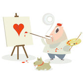 Artist painting a love heart — Stock Vector