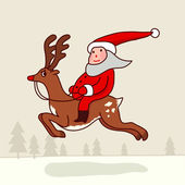 Santa Claus riding a  reindeer — Vector de stock