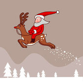 Santa Claus riding a  reindeer — Vettoriale Stock