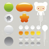 Funny character and Empty buttons — Stock Vector