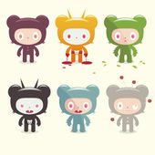 Horror bear character set — Vector de stock