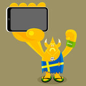 Swedish character holding a mobile gadget — Stock Vector