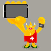 Swiss character holding mobile device — Stock Vector