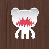 Evil white bear — Stock Vector