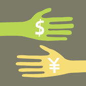 Hands with dollar and yen signs — Stock Vector