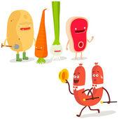 Cartoon  vegetables and a sausage — Stok Vektör