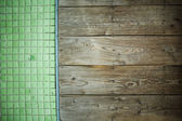 The combination of wood and tiles — Stock Photo