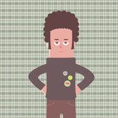 кудрявый человек мультфильм — Cтоковый вектор