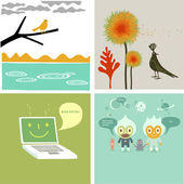 Collage of four pictures — Stock Vector