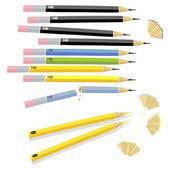 Pencils various length — Stock Vector