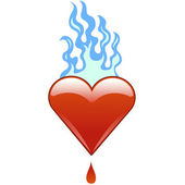 Flaming heart at fire — Stock Vector