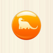 Dinosaur button icon — Stock Vector