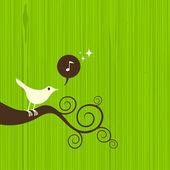 Fågel på gren — Stockvektor