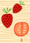 Succulent strawberries — Stock Vector