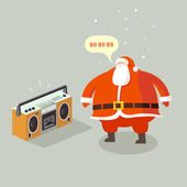 Santa Claus listening to festive tunes — Stock Vector