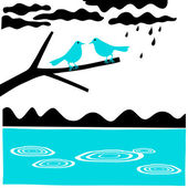 Raining again water lake rain spring birds on branch — Stock Vector