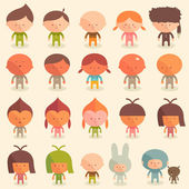 Girls and boys in costumes — Vector de stock