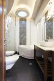 Modern bathroom interior shot from doorway — 图库照片