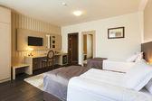Modern twin bedroom interior — Stock Photo