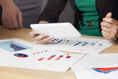 Working with charts and graphs in office — Stock Photo