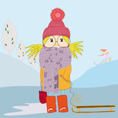 Girl in scarf and with a sledge — Stock Vector