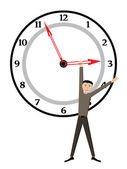 Man on clock — Vector de stock
