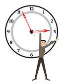 Man on clock — Stock Vector