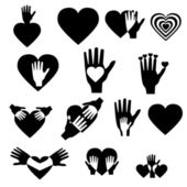 Signs of hand and heart — Stock Vector