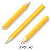 Three simple stationery pencil in different angles. — Stock Vector