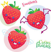 Funny strawberry different emotions — Stock Vector