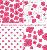 Flowers and buds of poppy seamless patterns set  — Stock Vector