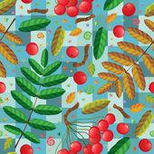Rowan twigs berries and leaves - vector seamless pattern — Stock Vector
