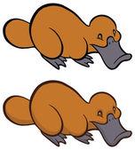 Funny smiling cartoon platypus — Stock Vector