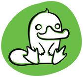 Funny happy cartoon platypus on green back — Stock Vector