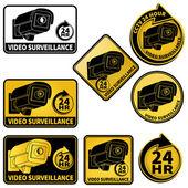 Video surveillance black — Stock Vector