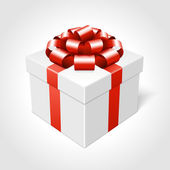 Gift box and red bow vector illustration — Stock Photo