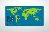 Infographic layout template with world maps — Stock Photo