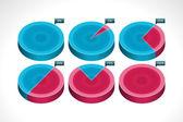 Segmented colorful pie chart vector illustration — Stock Vector
