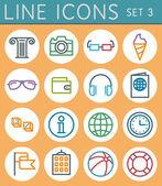 Travel line icons set. Vector web design elements — Stock Vector
