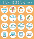Travel line icons set. Vector web design elements — Stock Vector
