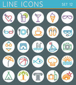 Travel line icons set. Summer holidays vector web design  — Stock Vector