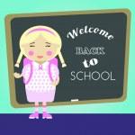 Cartoon school girl vector background. Back to school illustration. — Stock Vector #50950005